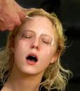 Amateur blonde gets facial at FaceFucking.com